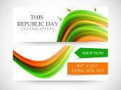 Website sale header or banner with national tricolor waves and butterflies for Indian Republic Day celebrations.