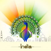 stock photo of indian independence day  - Indian Republic Day and Independence Day celebrations with National Bird Peacock - JPG