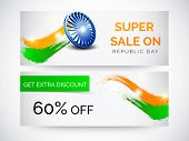 Website sale header or banner with Ashoka Wheel and national tricolor waves for Indian Republic Day or Independence Day celebrations.