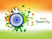 picture of ashoka  - Happy Indian Republic Day celebration concept with Ashoka Wheel - JPG