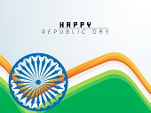 Happy Indian Republic Day celebration with Ashoka Wheel and beautiful national flag color waves.