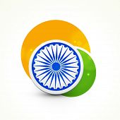 Creative circles in saffron and green color with Ashoka Wheel for Indian Republic Day celebration on white background.