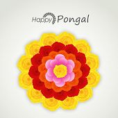 South Indian harvesting festival, Happy Pongal celebrations with colorful flowers decorated rangoli on grey background.