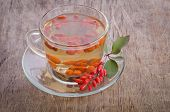 Goji Fresh Antioxidant Tea On Wooden Background