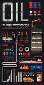 Oil Industry Infographics Set With Pipeline Brush