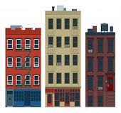 foto of brownstone  - New York old manhattan houses set for infographics use - JPG