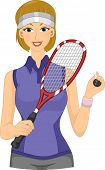 Illustration Featuring a Female Squash Player Holding a Racket and a Ball