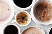 Lots of coffee cups on white background