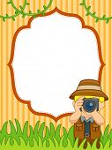Background Illustration of a Man in Safari Outfit Taking Pictures