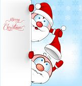 Funny Santa Clus Cartoon On Background With Signboard