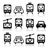 Kawaii cute icons - car, bus, train, tram and gondola