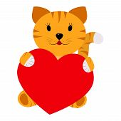 Tiger holding a heart on a white background