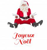 Doubtful santa sitting alone against Christmas greeting card