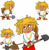 Cartoon Character Village Boy In Various Poses With A Shovel And A Bag.eps