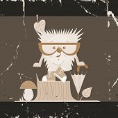 Cartoon  Hedgehog, Hipster Style