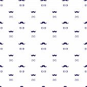 Vector hand drawn seamless pattern in doodle style, mustache and bow-tie