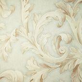 Vintage Grey Victorian Wallpaper With Beige Baroque Vignette