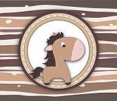 Brown Pony Label Card On Stripey Background