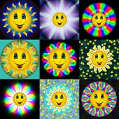 Set Of Happy Bloom Sun Textures