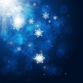 Christmas Snow Blue Card