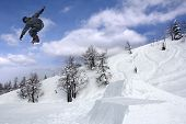 Snowboarder Extreme Jumping