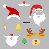 picture of deer horn  - Christmas photo booth and  scrapbooking vector set Santa - JPG