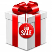 Big White Gift Box With Red Bow And Big Sale Tag Isolated On White, Vector Illustration