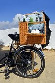 Picnic basket on a bicycle in Portugal