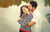 Happy Romantic Wide Smile Couple In Love At The Lake Outdoor On Vacation, Harmony Concept
