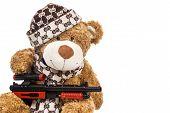 Teddy Bear In Cap With Rifle
