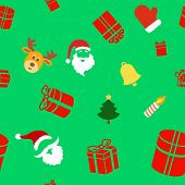 Seamless holiday background with cute Christmas characters, Santa Clause, bell, gift box and Reindee