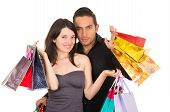 attractive young couple shopping