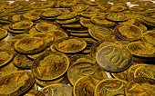 stock photo of copper coins  - composition in the form of mountains scattered copper coins - JPG
