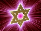 picture of covenant  - stylized image Star of David made of gold in the glow rays - JPG