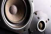 pic of subwoofer  - Detail shot of some old round speakers - JPG