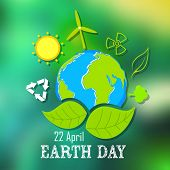 picture of save earth  - illustration of Earth Day concept with Gl - JPG