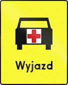 stock photo of ambulance  - Polish road sign - JPG