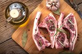 pic of lamb chops  - Raw lamb chop ready for frying - JPG