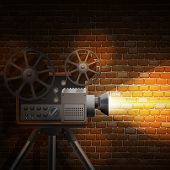 picture of outdated  - Retro film wallpaper with realistic projector and spotlight on brick wall background vector illustration - JPG