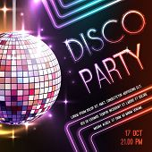 picture of balls  - Disco dance party poster with glass ball decoration vector illustration - JPG