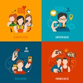 stock photo of avatar  - Selfie design concept set with glamour hipster friend avatar flat icons isolated vector illustration - JPG