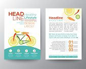 picture of brochure  - Brochure Flyer design vector template Layout with bicycle illustration made from vegetables healthy lifestyle concept - JPG