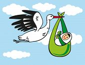 image of stork  - illustration of white stork carries a baby on blue sky with clouds - JPG