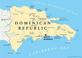 image of greater antilles  - Dominican Republic Political Map with capital Santo Domingo - JPG