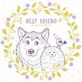 stock photo of bird-dog  - Stylish silhouettes cartoon cute dog husky with cat and bird in floral wreath - JPG