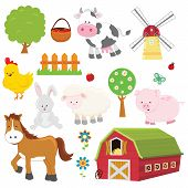 foto of farm animals  - Collection of cute little  vector farm animals  - JPG