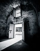 stock photo of vault  - Entrance way to a plastered brick - JPG