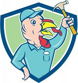 image of clutch  - Illustration of a wild turkey builder holding clutching hammer looking to the side set inside shield crest done in cartoon style on isolated background - JPG