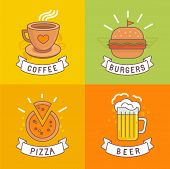 picture of food label  - Vector linear food labels and badges with trendy linear illustrations  - JPG
