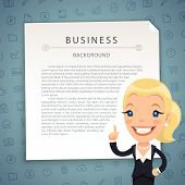 stock photo of aquamarine  - Aquamarine Business Background with Business Lady - JPG